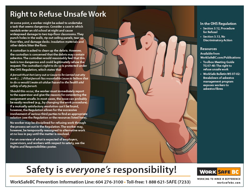 image of worksafe BC poster on right to refuse unsafe work. prevention information line 604 276 3100. toll-free 1 888 621 7233